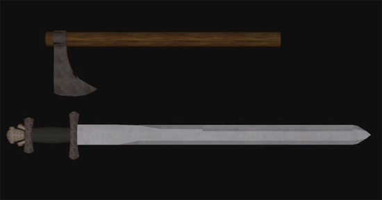 Picture of Viking Sword and Hand Axe Weapon Props