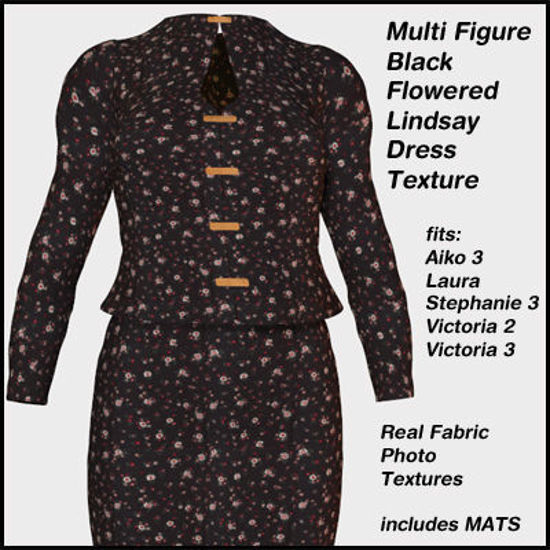 Picture of Black Flower Pattern for Lindsay Dress for Multiple Figures - Poser Laura, DAZ 3D A3, V1-3,and SP3