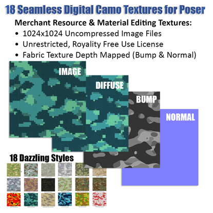 18 Seamless Camo Fabric Textures for Poser