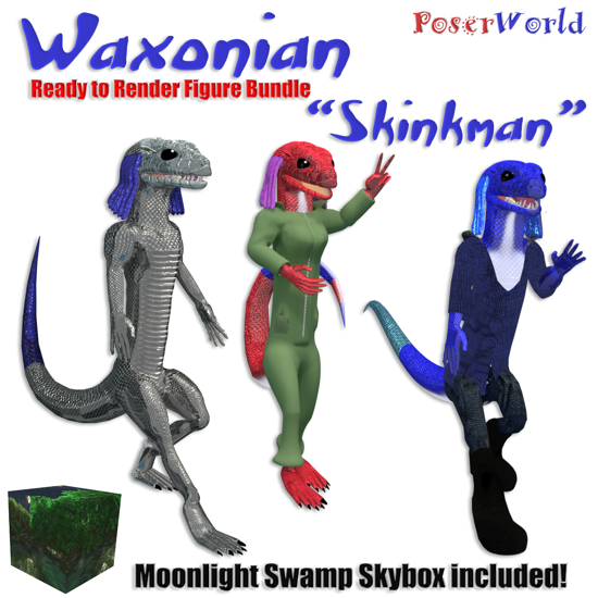 PoserWorld Waxonian Skinkman Ready to Render Figure Bundle for Poser