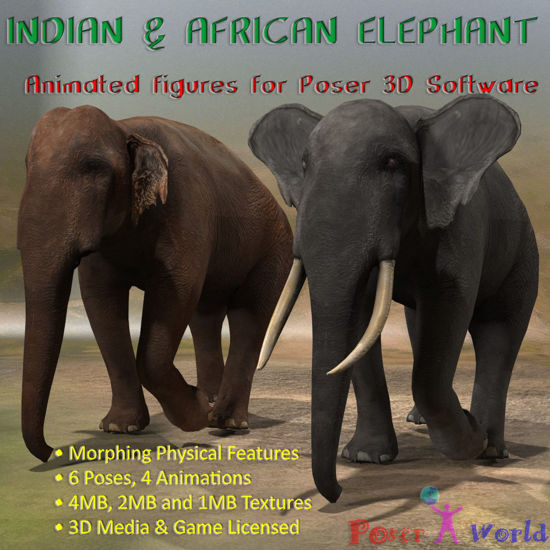 Indian and African Elephant (Figures for Poser)